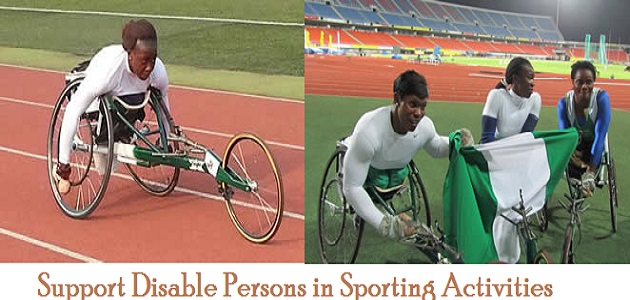 Support disabled persons in sporting activities.